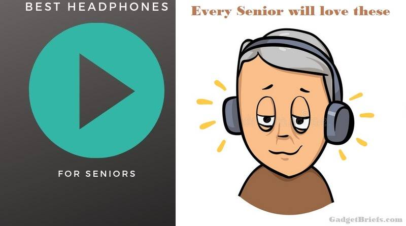 A senior with noise cancelling headphones