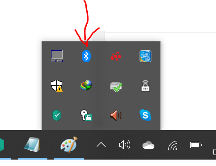 Where Bluetooth icon if found in Windows 10?