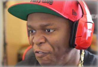 KSI wearing the TRITTON Kunai Wireless Stereo Headset