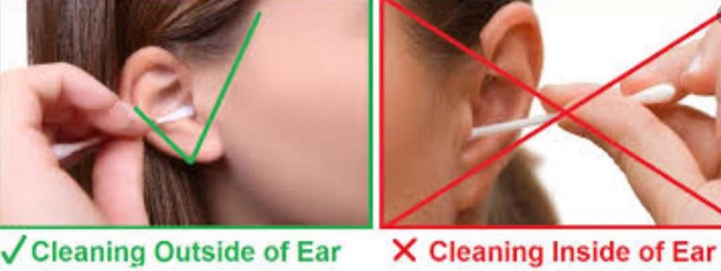 never use Cotton Swabs to clean inside the ear