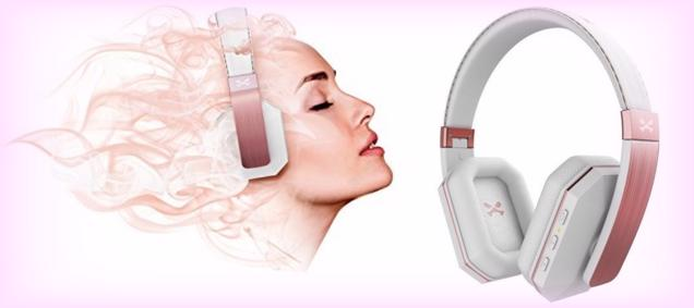 The pink Ghostek soDrop 2 Wireless Headphones are good for ladies