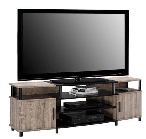 Ameriwood Home Carson T.V Stand has adjustable compartments