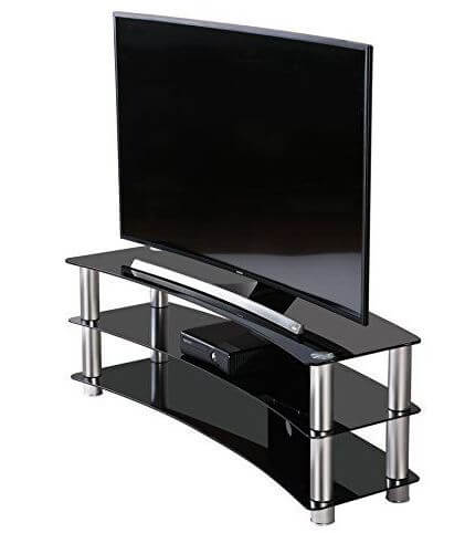 FITUEYES Curved T.V Stand for large flat screens