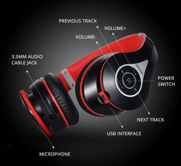 Mpow 059 Bluetooth Headphones operates in both wired and wireless modes